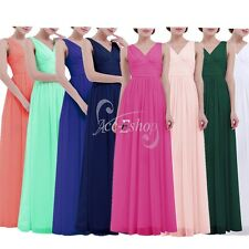 Chiffon V Long Wedding Bridesmaid Prom Ball Cocktail Party Evening Women's Dress