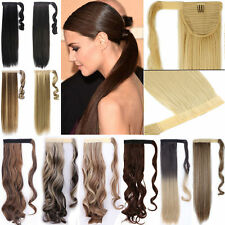 US Magic Clip in Hair Extension Pony Tail Wrap around as Human Made Real Quality