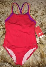 SPEEDO Crossover Splice Lava Red Purple Orange 1 pc Swim Suit NEW Youth Girls 14