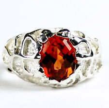 Created Padparadsha Sapphire, 925 Sterling Silver Men's Ring -Handmade •SR168