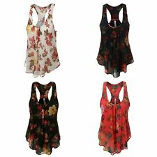 Plus Size Womens Summer Tank Top Floral Print Ruffles Casual Vest Chiffon Blouse