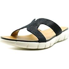 Vaneli Keary Women W Open Toe Leather Blue Slides Sandal