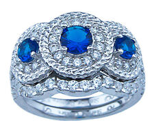 925 Sterling Silver 1.35Ct Clear & Sapphire Blue CZ Engagement Wedding Ring Set