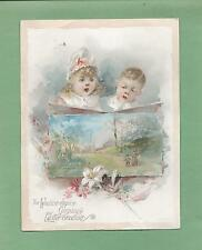 Adorable CHILDREN On Uns. BRUNDAGE LION COFFEE Victorian Trade EASTER Card