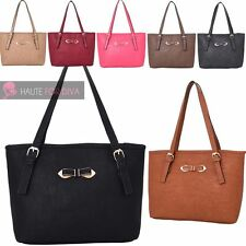 LADIES NEW PU LEATHER SMALL BOW DECORATION SHOULDER TOTE BAG HANDBAG