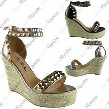 New Womens Studded Ankle Strap Espadrilles Wedge Platform Shoes Peep Toe Sandals