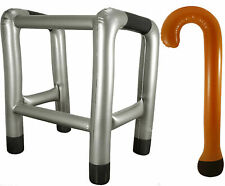 INFLATABLE BLOW UP TOY WALKING FRAME & STICK OLD PEOPLE NOVELTY FANCY DRESS