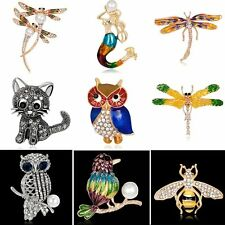 Fashion Animal Cat Owl Bee Pearl Crystal Rhinestone Brooch Pin Womens Jewellery