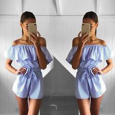 Hot Women Sexy Cotton Rompers Short Trousers Blue Striped Summer