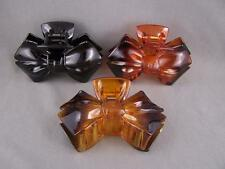 Bow Ribbon plastic 3.5 inches long barrette hair accessory clip claw clamp teeth