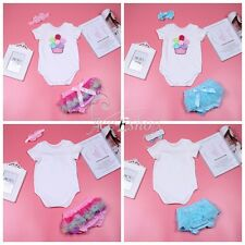 3PCS Baby Girls 3D Flower Birthday Party Romper Pants Bloomers Headband Outfits