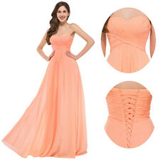 Women Long Strapless Prom Party Bridesmaid Evening Gown Cocktail Formal Dress