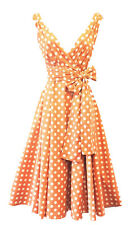 Rosa Rosa Vintage 1950s Style Peach Polka Dot Pin Up Swing Prom Tea Dress