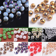 (96 Facets) 8mm 15/50pcs Charms Round Faceted Crystal Glass Loose Beads Making