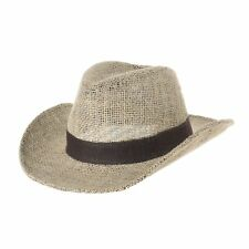 WITHMOONS Western Cowboy Hat Paper Straw Linen Fedora Panama Hat DW8659