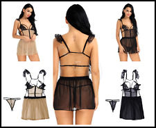 Sexy Women's Strappy Backless See-through Lingerie Chemises Babydoll Mini Dress
