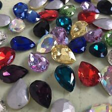 Mixed Colors Teardrop Point back Rhinestones Crystal Glass Chatons Strass