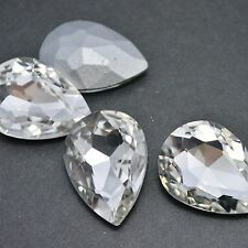 Teardrop Crystal Clear Rhinestones Point back Glass Nail Art Pear Chatons Strass