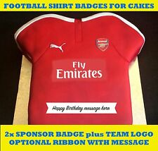 FOOTBALL SHIRT INDIVIDUAL BADGES/SPONSOR LOGOS EDIBLE cake toppers