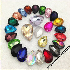 7*10mm Tear Drop Rhinestones Point back Chatons Crystal Glass Strass 100ps C1