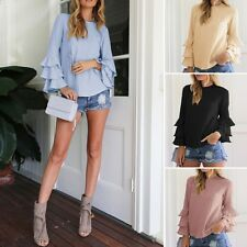 Fashion Womens Summer Flounce Long Sleeve Casual Blouse Loose Tops Solid T-Shirt
