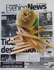 BURGER & CHIP FRIES ON NEWSPAPER. dolls house miniature food .