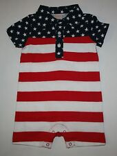 New Gymboree Outlet July 4th Polo Romper Boys NWT 3m - 6m Stars Stripes