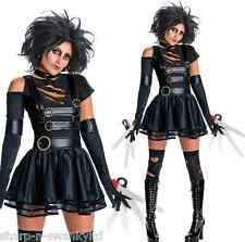 Ladies Sexy Miss Scissorhands & Wig 1990s Halloween Fancy Dress Costume Outfit