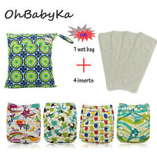 4 Ohbabyka Baby Adjustable Washable Reusable Cloth Diapers Nappies+4 Inserts Lot