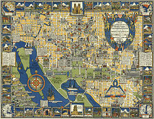 1920 Pictorial Map Washington D.C. Architecture History Vintage Wall Art Poster