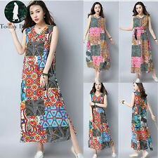 New Women Floral Print Boho Casual Loose Maxi Dress Cotton Linen Vintage Kaftan