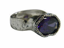 925 Sterling Silver SHABLOOL Ring Purple Amethyst CZ Cocktail Style