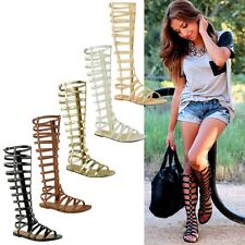 Womens Ladies Cut Out Gladiator Sandals Flat Knee Boots Strappy Size