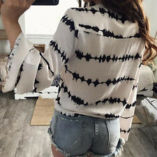 Blouse Stripe Printed Tops  Bandage Blouse  Casual Loose Long Sleeve Women