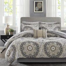 Twin XL Full Queen Cal King Bed Taupe Gray Medallion Damask 9 pc Comforter Set