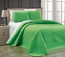 NEW Twin XL Full Queen Cal King Size Bed Green 3 pc Coverlet Quilt Bedspread Set