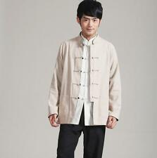New Men cotton/linen kung fu Tops Double faced Long Sleeve Shirt casual coats