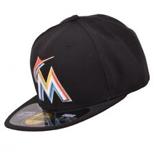 New Era MLB Miami Marlins New Era 59Fifty 5950 Fitted Hat Cap Black On Field