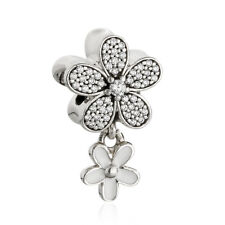 authentic 925 sterling silver charm Bead Flowers Enamel CZ Floral Charm Beads