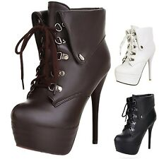 hana Womens Leather Lace Up Shoes Platform Ankle Boots High Heels booties Size