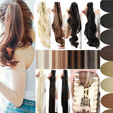 PROMO Ponytail Extension Claw Clip in Hair Extentions Pony Tail Straight Curly Y