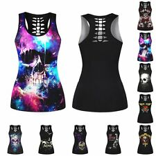 Women Ladies Sleeveless 3D Graphic Skull Print Hollow Punk Blouse Vests Tank Top