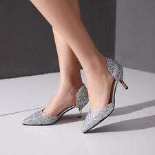 Chic Women Glitter Kitten Heel Sliver/Gold Bling Bling Pointy Toe Pumps Shoes SZ