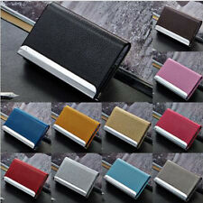Men Women Business Leather Credit Card Bag Name Id Card Holder Case Wallet Box