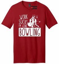 Work Sucks I'm Going Bowling Funny Mens V-Neck T Shirt Bowler Bowling League Tee