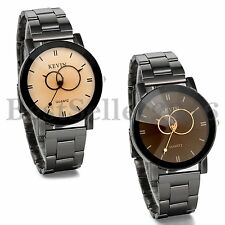 Fashion Men Women Unisex Round Dial Stainless Steel Band Quartz  Wrist Watch