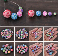 Wholesale Mixed 6/8/10/12/15mm Polymer Clay Flower Round Loose Spacer Beads