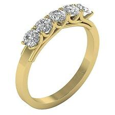 Five Stone Engagement Ring 1.01Ct Round Cut Diamond 14K Solid Gold Prong Setting