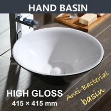 Porcelain Round Bathroom Vessel Basin Sink Bowl with Thin Edge Counter Top