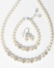 Lavishing White Glass Pearl With Diamante Silver AAA Beaded Wedding Necklace Set
